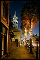 St Michael Episcopal Church, sidewalk, and palm trees at night. Charleston, South Carolina, USA