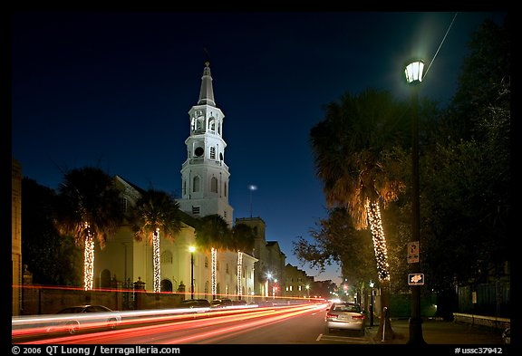 St Michael Episcopal Church and street with traffic at night. Charleston, South Carolina, USA (color)