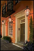 House facade with gas lamps. Charleston, South Carolina, USA