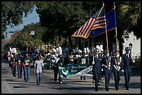 Beaufort high school band during parade. Beaufort, South Carolina, USA (color)