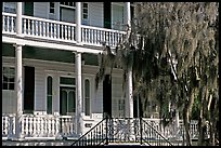 Facade with balconies, columns, and spanish moss. Beaufort, South Carolina, USA