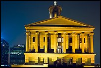 Greek Revival style Tennessee State Capitol by night. Nashville, Tennessee, USA