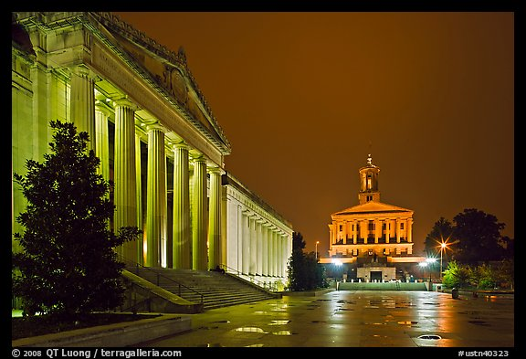 War Memorial and State Capitol by night. Nashville, Tennessee, USA (color)