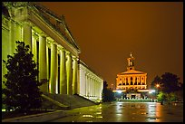 War Memorial and State Capitol by night. Nashville, Tennessee, USA ( color)