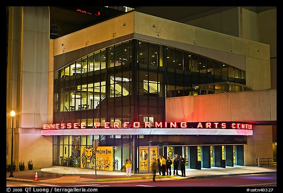 Tennessee Performing Arts Center at night. Nashville, Tennessee, USA (color)
