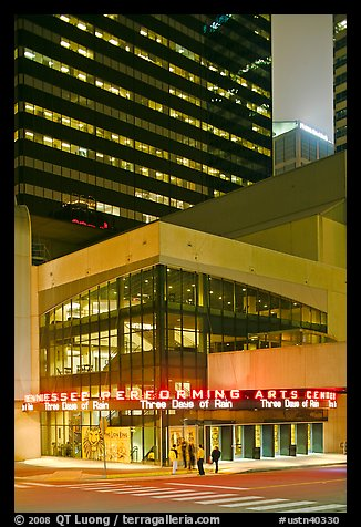 Tennessee Performing Arts Center and downtown buildings. Nashville, Tennessee, USA (color)