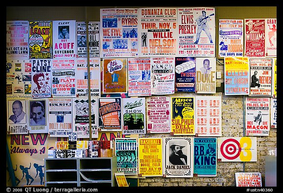 Posters on display, Hatch Show print. Nashville, Tennessee, USA (color)