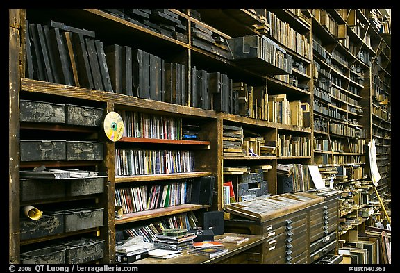 Bookshelves, Hatch Show print. Nashville, Tennessee, USA (color)