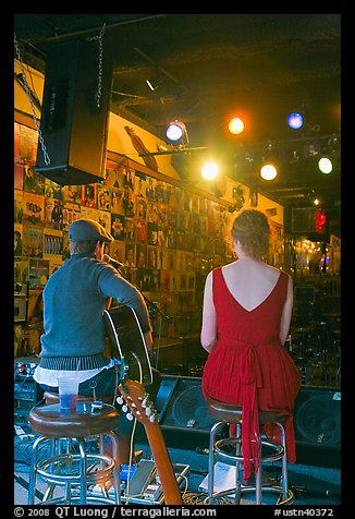 Singers from behind scene at Tootsie Orchid Lounge. Nashville, Tennessee, USA (color)