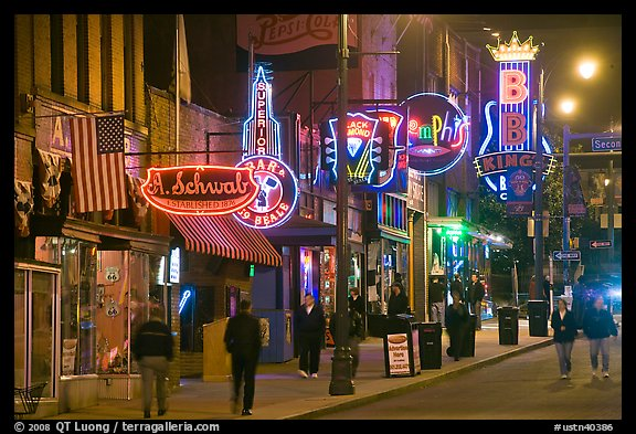 Beale Street sidewalk by night. Memphis, Tennessee, USA (color)