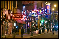 Beale Street sidewalk by night. Memphis, Tennessee, USA
