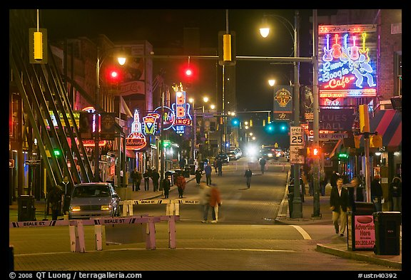 Beale Street at night. Memphis, Tennessee, USA (color)