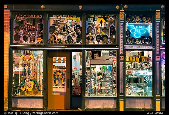 Store on Beale Street by night. Memphis, Tennessee, USA (color)