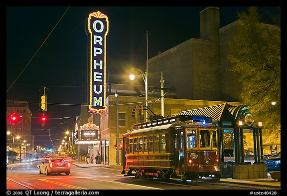 Street by night with trolley and Orpheum theater. Memphis, Tennessee, USA (color)