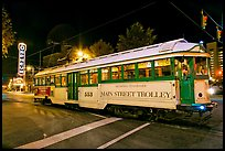 Main Street Trolley by night. Memphis, Tennessee, USA