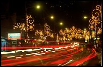 Christmas lights and traffic. Tennessee, USA (color)
