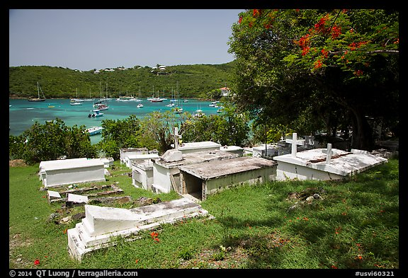 Cemetery overlooking harbor, Cruz Bay. Saint John, US Virgin Islands (color)