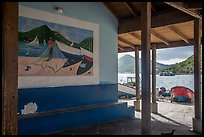 Mural decor and Hassel Island. Saint Thomas, US Virgin Islands