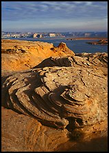 Rock Swirls and Lake Powell, Glenn Canyon National Recreation Area, morning. USA ( color)