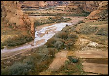 Farm on the valley floor of Canyon de Chelly. USA ( color)