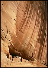 White House Ancestral Pueblan ruins and wall with desert varnish. USA ( color)