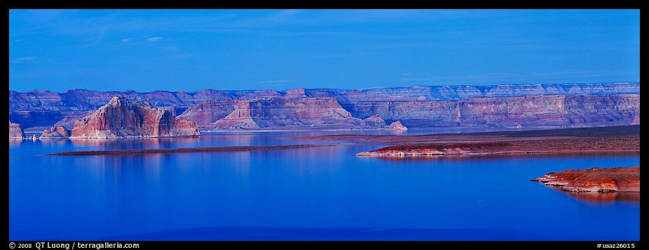 Dusk scenery with mesas and Lake Powell, Glen Canyon National Recreation Area, Arizona. USA (color)