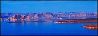 Dusk scenery with mesas and Lake Powell, Glen Canyon National Recreation Area, Arizona. USA (Panoramic color)