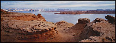 Lake Powell scenery with swirls in foreground, Glen Canyon National Recreation Area, Arizona. USA (Panoramic color)