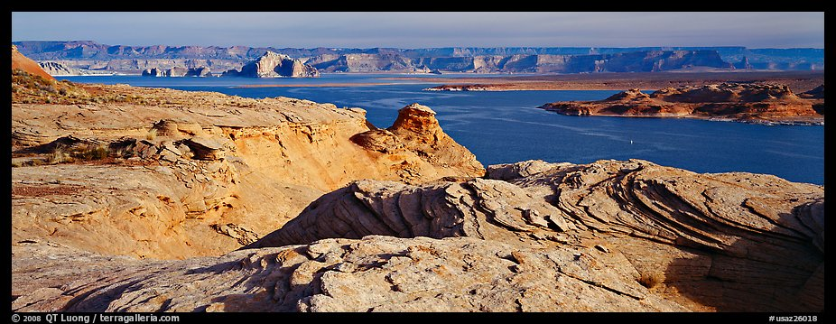 Lake Powell view with sandstone swirls, Glen Canyon National Recreation Area, Arizona. USA (color)