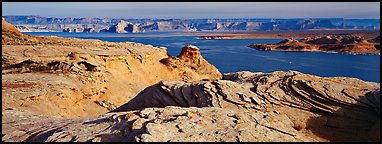 Lake Powell view with sandstone swirls, Glen Canyon National Recreation Area, Arizona. USA (Panoramic color)