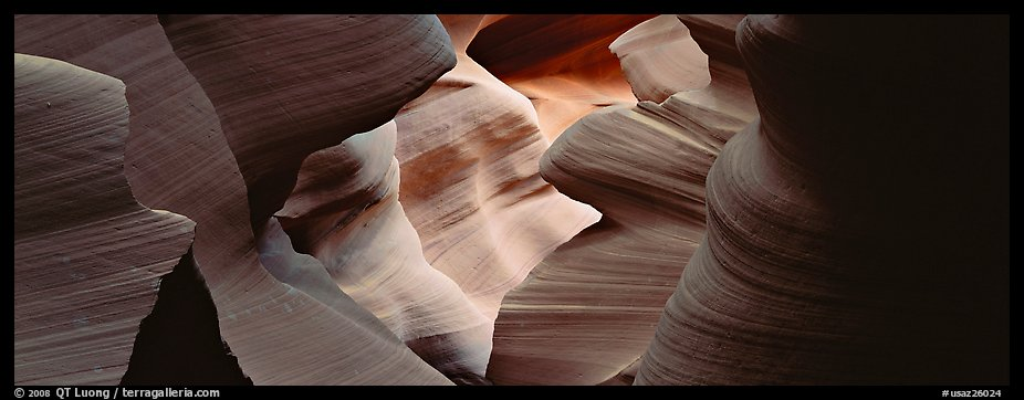 Slot canyon sculptured walls, Antelope Canyon. Arizona, USA (color)