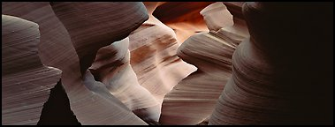 Slot canyon sculptured walls, Antelope Canyon. Arizona, USA (Panoramic color)