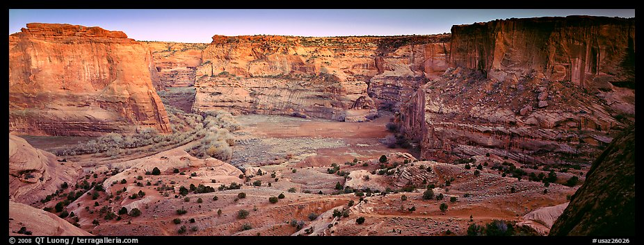 Canyon scenery at dusk. Canyon de Chelly  National Monument, Arizona, USA (color)