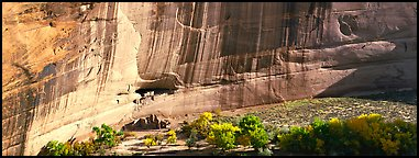 Canyon de Chelly scenery with ruin and trees in autumn color. Canyon de Chelly  National Monument, Arizona, USA (Panoramic color)