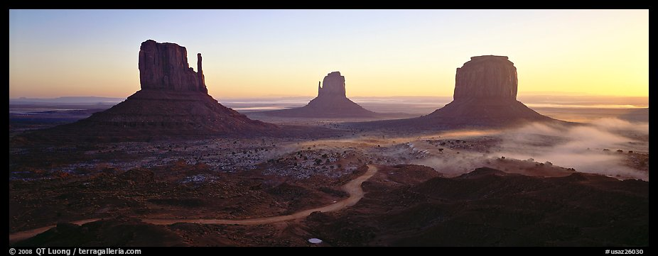 Monument Valley landscape at sunrise. Monument Valley Tribal Park, Navajo Nation, Arizona and Utah, USA (color)