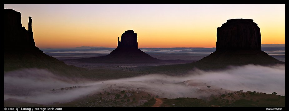 Monument Valley mittens at sunrise with fog. Monument Valley Tribal Park, Navajo Nation, Arizona and Utah, USA (color)
