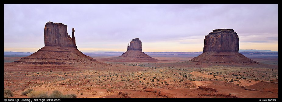Monument Valley landscape and mittens. Monument Valley Tribal Park, Navajo Nation, Arizona and Utah, USA (color)