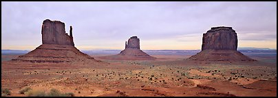 Monument Valley landscape and mittens. Monument Valley Tribal Park, Navajo Nation, Arizona and Utah, USA (Panoramic color)