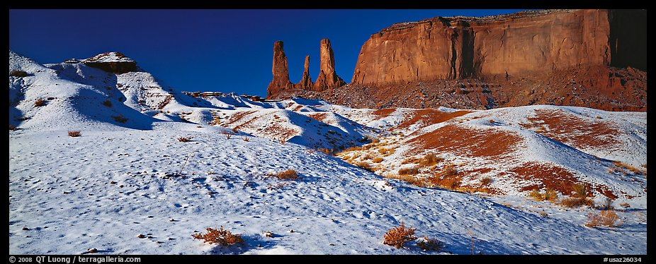 Monument Valley landscape with snow. Monument Valley Tribal Park, Navajo Nation, Arizona and Utah, USA (color)