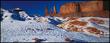 Monument Valley landscape with snow. Monument Valley Tribal Park, Navajo Nation, Arizona and Utah, USA (Panoramic color)