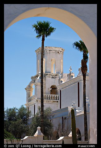 Arch and North Court, San Xavier del Bac Mission (the White Dove of the Desert). Tucson, Arizona, USA (color)
