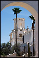 Arch and North Court, San Xavier del Bac Mission (the White Dove of the Desert). Tucson, Arizona, USA ( color)