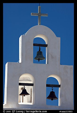 White Bell tower, San Xavier del Bac Mission. Tucson, Arizona, USA (color)