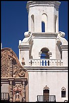 Facade detail and tower, San Xavier del Bac Mission. Tucson, Arizona, USA ( color)