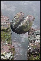 Spherical boulder stuck between pillars. Chiricahua National Monument, Arizona, USA ( color)