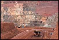 Truck and copper mine terraces, Morenci. Arizona, USA (color)