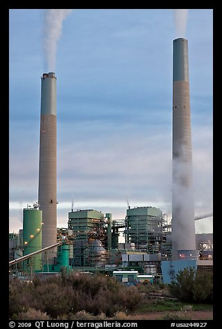 Smokestacks, Cholla generating station,. Arizona, USA (color)