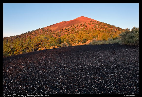 Cinder and Sunset Crater at sunrise, Sunset Crater Volcano National Monument. Arizona, USA (color)