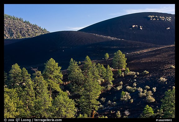 Volcanic landscape with cinder domes, Sunset Crater Volcano National Monument. Arizona, USA (color)