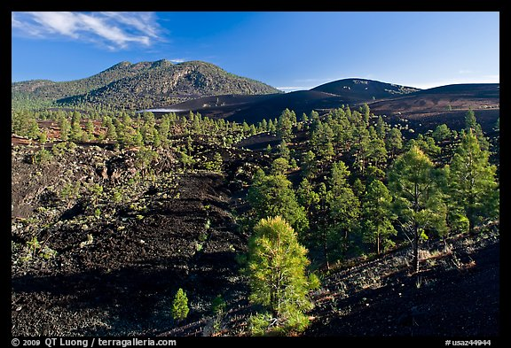 Volcanic hills covered with black lava and cinder, Sunset Crater Volcano National Monument. Arizona, USA (color)